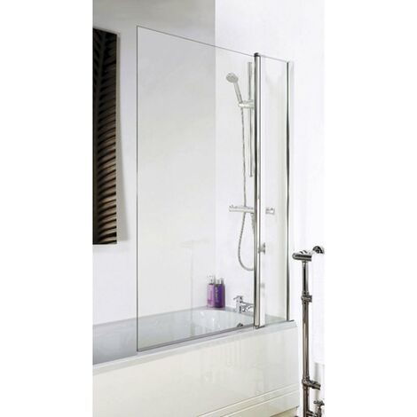 Nuie Square Bath Screen with Panel, 1435mm High x 985-1005mm Wide, 6mm Glass