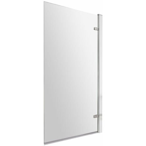 Nuie Square Hinged Bath Screen 1520mm H x 830mm W - 8mm Glass
