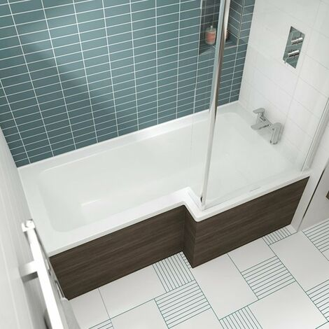 Nuie Square L-Shaped Shower Bath 1500mm x 700mm/850mm Right Handed