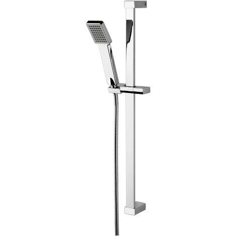 """main image of """"Nuie Square Slider Rail Shower Kit, 700mm High, Chrome"""""""