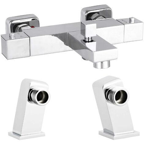 Nuie Square Thermostatic Bath Shower Mixer Tap with Deck Mounting Legs - Chrome
