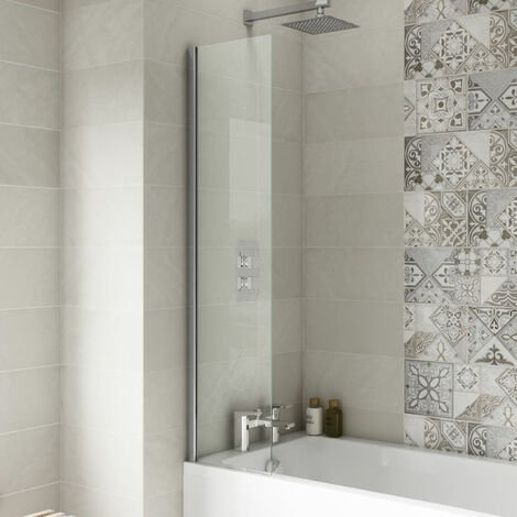 Nuie Straight Fixed Bath Screen 1400mm H x 350mm W - 6mm Glass