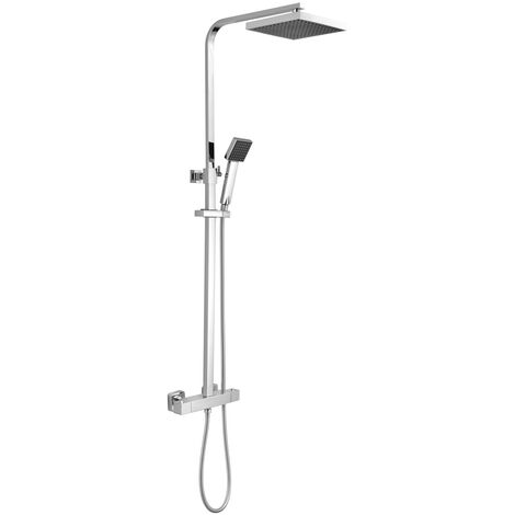 Nuie Thermostatic Shower Bar Valve and Rigid Riser Shower Kit with Square Head- JTY386