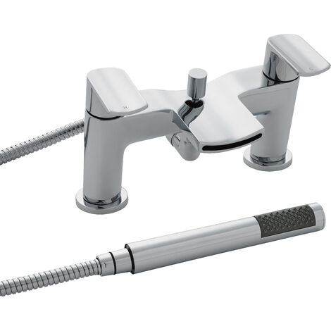 Nuie TMO354 Mona ǀ Modern Bathroom Round Bath Mixer Tap and Shower Kit, 131mm x 230mm, Chrome