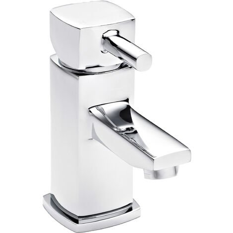 Nuie TMU305 Munro | Modern Bathroom Square Basin Mixer Tap With Free Push Button Waste , 157mm x 55mm, Chrome