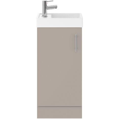 Nuie Vault Floor Standing 1-Door Vanity Unit with Basin Stone Grey - 400mm Wide