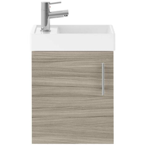 Nuie Vault Wall Hung 1-Door Vanity Unit with Basin 400mm Wide - Driftwood