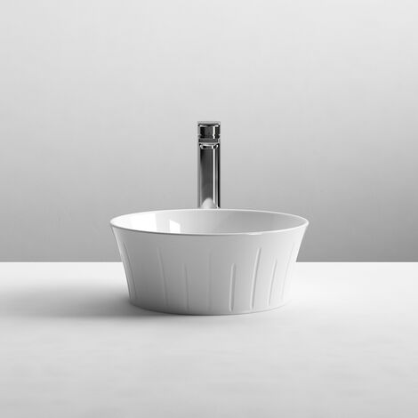 Nuie Vessels Round Sit-On Countertop Basin 360mm Wide - 0 Tap Hole