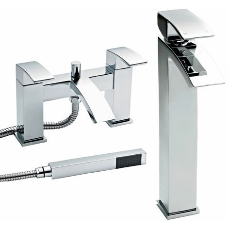 Nuie Vibe Tall Mono Basin Mixer Tap and Bath Shower Mixer Tap Pillar Mounted, Chrome