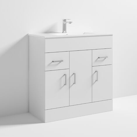 Nuie VTMW800 Eden | Modern Bathroom Storage Vanity Unit With 3 Doors and 1 Tap Hole Basin , 800mm x 810mm, Gloss White