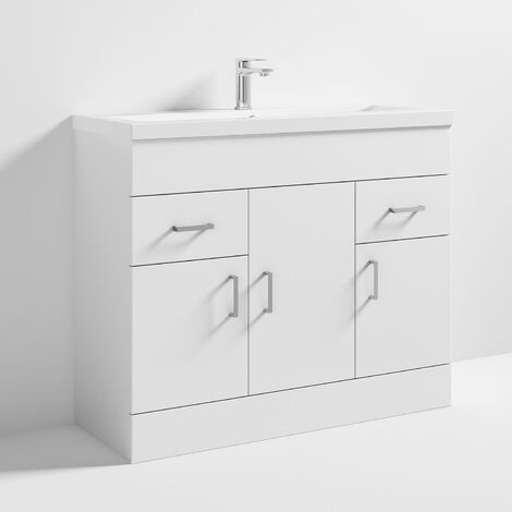 Nuie VTNB1000 Eden | Modern Bathroom Storage Vanity Unit With 3 Doors and 1 Tap Hole Basin , 800mm x 1010mm , Gloss White