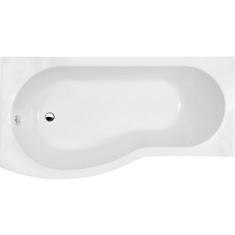 Nuie WBB1585L ǀ Modern Bathroom B Shaped Shower Bath Left Hand , 1500mm x 900mm x 415mm, White