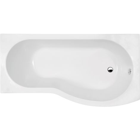 Nuie WBB1585R ǀ Modern Bathroom B Shaped Shower Bath Right Hand , 1500mm x 900mm x 415mm, White