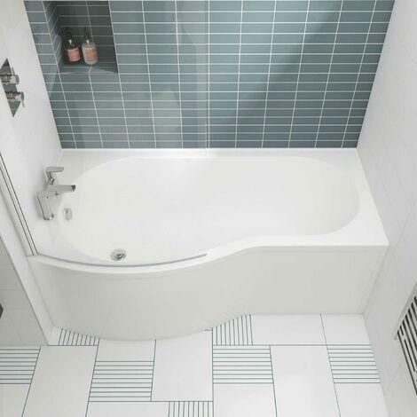 Nuie WBB1785L ǀ Modern Bathroom B Shaped Shower Bath Left Hand , 1700mm x 900mm x 415mm, White