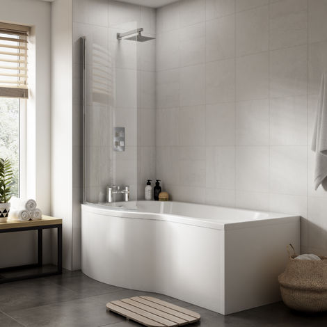 Nuie WBB200 ǀ Modern Bathroom B Shaped Bath Front Panel, 1700mm x 500mm x 150mm, White