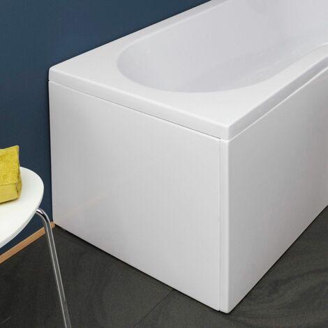 Nuie WBB201 ǀ Modern Bathroom B Shaped Bath End Panel, 700mm x 500mm x 26mm, White