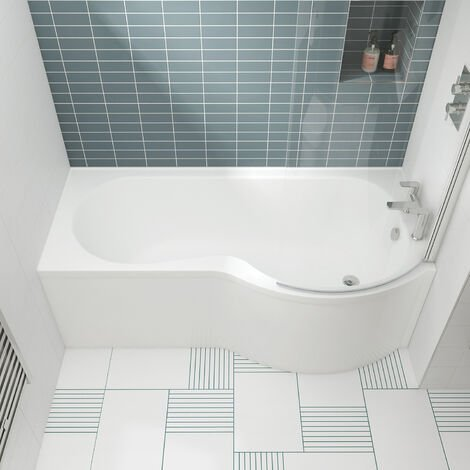 Nuie WBP1585R ǀ Modern Bathroom P Shaped Single Ended Shower Bath Right Hand , 1500mm x 850mm x 420mm, White