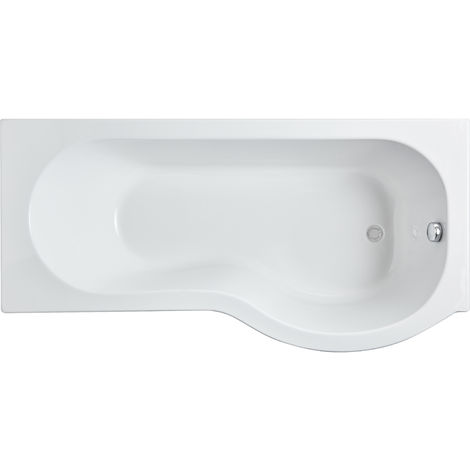 Nuie WBP1685R ǀ Modern Bathroom P Shaped Single Ended Shower Bath Right Hand , 1600mm x 850mm x 420mm, White