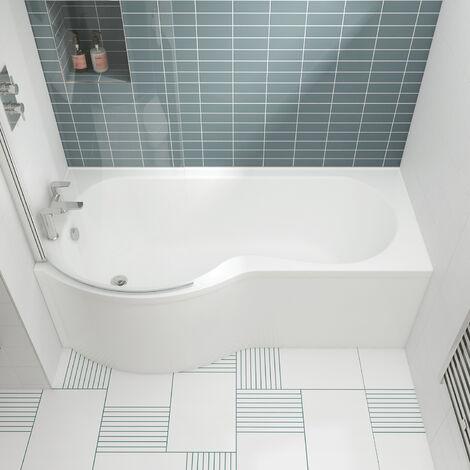 Nuie WBP1785L ǀ Modern Bathroom P Shaped Single Ended Shower Bath Left Hand , 1700mm x 850mm x 4520mm, White