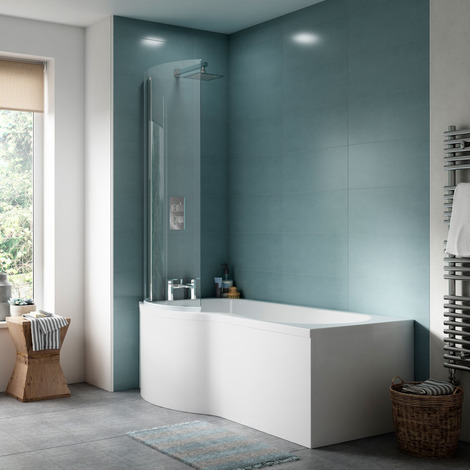 Nuie WBP201 ǀ Modern Bathroom P Shaped Bath End Panel, 700mm x 510mm x 26mm, White