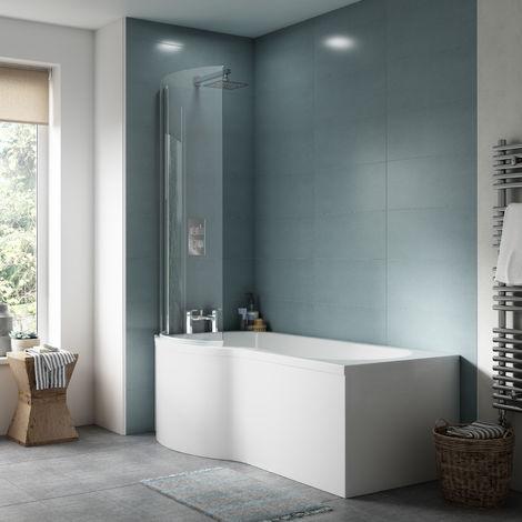 Nuie WBP202 ǀ Modern Bathroom P Shaped Bath Front Panel, 1495mm x 510mm x 170mm, White
