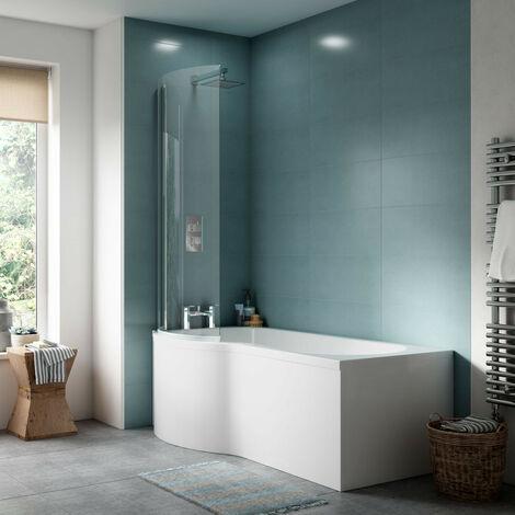 Nuie WBP203 ǀ Modern Bathroom P Shaped Bath Front Panel, 1595mm x 510mm x 170mm, White
