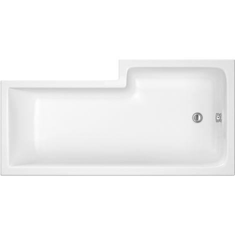Nuie WBS1685L ǀ Modern Bathroom L Shaped Square Shower Bath Left Hand, 1600mm x 850mm x 400mm, White