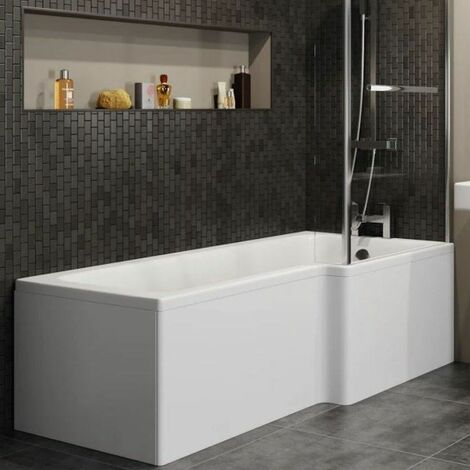 Nuie WBS300 ǀ Modern Bathroom L Shape Square Front Panel, 1700mm x 500mm x 167mm, White