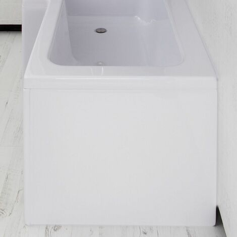 Nuie WBS301 ǀ Modern Bathroom L Shape Square End Panel, 700mm x 500mm x 26mm, White