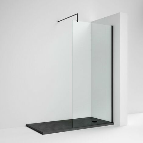 Nuie Wet Room Screen 1850mm High x 1200mm Wide with Support Bar 8mm Glass - Matt Black
