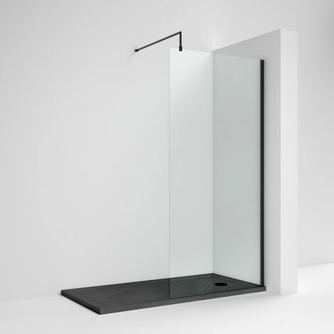 Nuie Wet Room Screen 1850mm High x 800mm Wide with Support Bar 8mm Glass - Matt Black