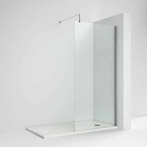 Nuie Wet Room Screen 1850mm x 1400mm Wide with Support Bar - 8mm Glass