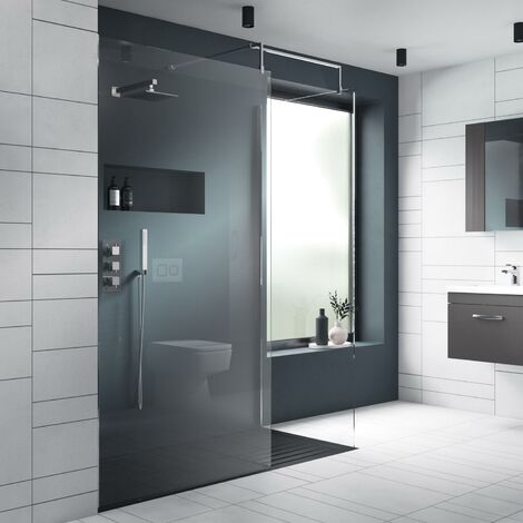 Nuie Wet Room Screen 1850mm x 800mm Wide with Support Bar - 8mm Glass