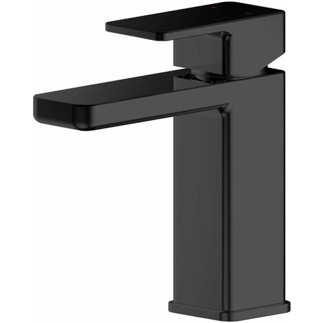 Nuie Windon Mono Basin Mixer Tap With Push Button Waste - Matt Black