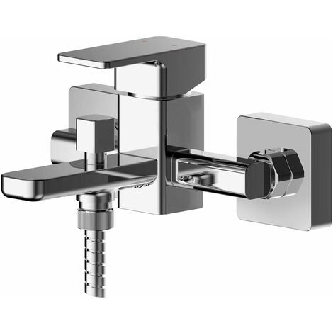 Nuie Windon Wall Mounted Bath Shower Mixer Tap with Shower Kit - Chrome