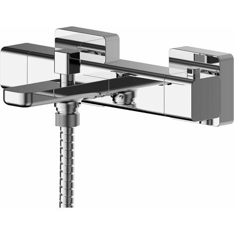 Nuie Windon Wall Mounted Thermostatic Bath Shower Mixer Tap - Chrome