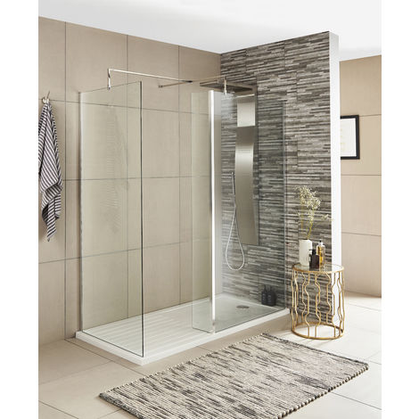 Nuie WRS025 Pacific | Modern Bathroom Fixed Wet Room Shower Return Screen with 8mm Toughened Safety Glass, 215mm, Glass