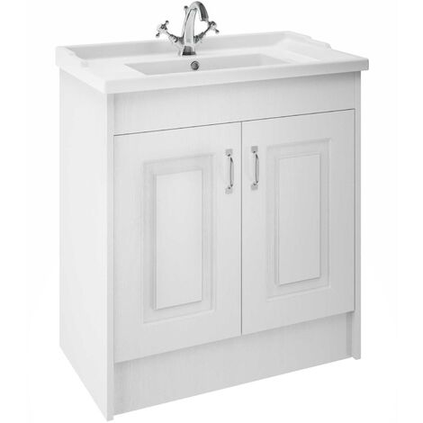 Nuie YOR105 York White Ash | York 800mm 2 Door Basin and Cab, Porcelain White Ash