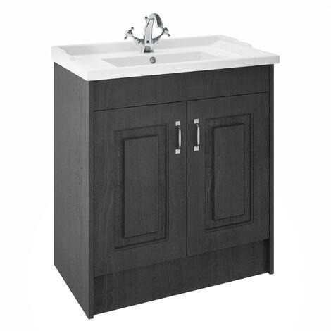 Nuie York Floor Standing 2-Door Vanity Unit with Basin 800mm Wide - Royal Grey