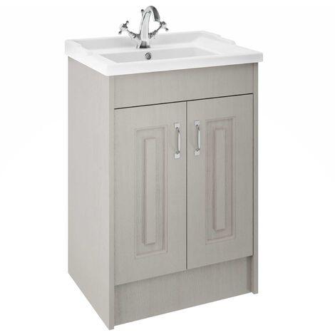 Nuie York Floor Standing Vanity Unit with Basin 600mm Wide Grey Woodgrain 1 Tap Hole