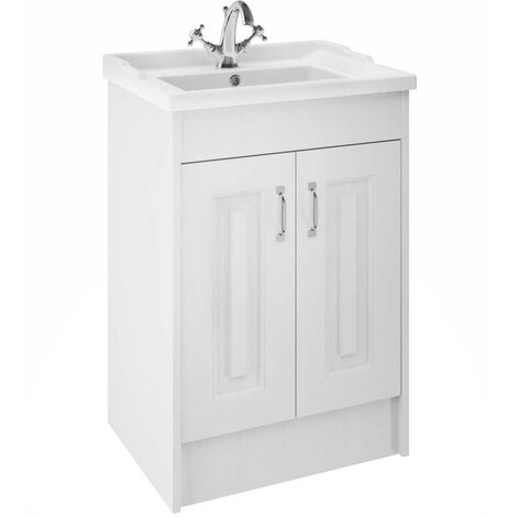 Nuie York Floor Standing Vanity Unit with Basin 600mm Wide White Ash 1 Tap Hole
