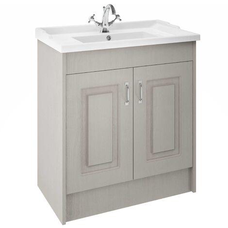 Nuie York Floor Standing Vanity Unit with Basin 800mm Wide Grey Woodgrain 1 Tap Hole