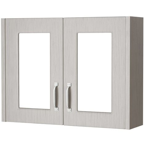 Nuie York Stone Grey 800mm 50/50 Split 2 Door Mirrored Cabinet - OLF215