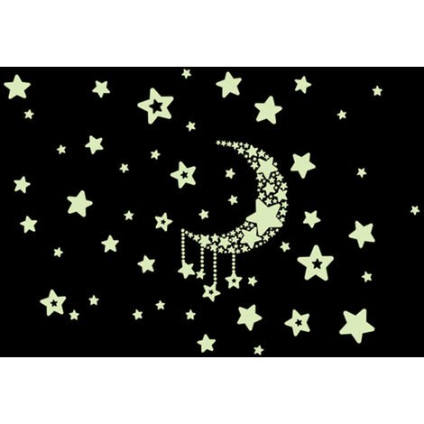 Nuit Etoilee Ciel Lune Etoiles Diy Phosphorescent Lumineux Noir Stickers Kids Room Decor Stickers Muraux Pour La Chambre Salon Kids Bebe