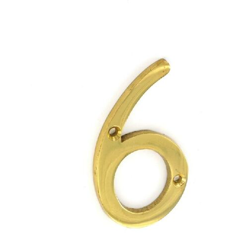 """main image of """"Number 6 (Six) Brass House Door Numeral - 3"""" / 75mm"""""""