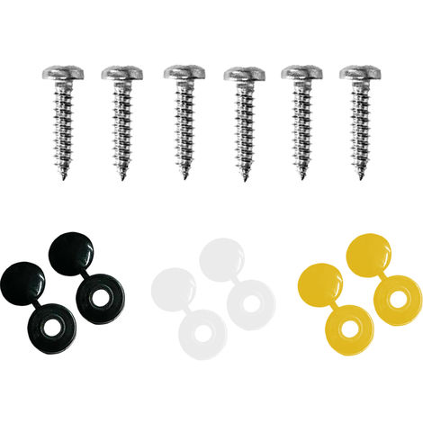 Number Plate Screws & Caps Kit 6PC Yellow Black White Caps With Screws