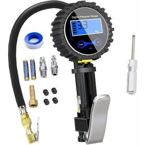 Numérique Manomètre Pneu 250 PSI,Haute Précis Digital Jauge de Pression de Pneus avec Pistolet Gonflage pour La Voiture Moto Vélos, 2 Piles AAA, écran LCD