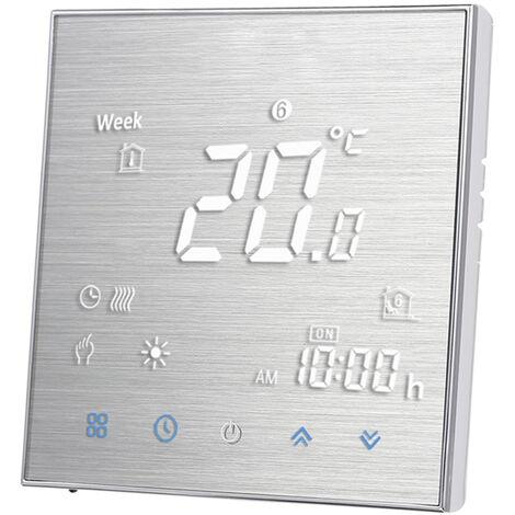 Numerique Thermostat Pour Plancher Chauffant electrique Chauffage Sol Et Capteur D'Air Avec Connexion Wi-Fi Connexion Et Commande Vocale D'economie D'energie, Aluminium Brosse, Type 2 Avec Wifi