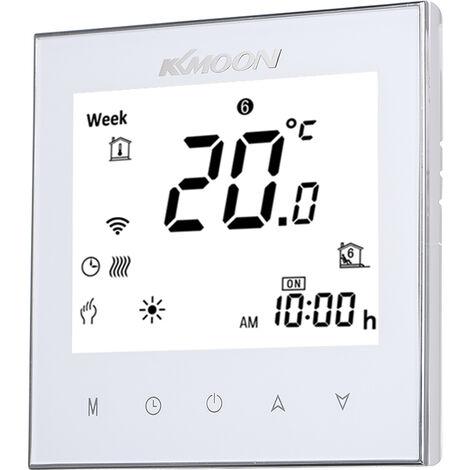 Numerique Thermostat Pour Plancher Chauffant electrique Chauffage Sol Et Capteur D'Air Avec Connexion Wi-Fi Connexion Et Commande Vocale D'economie D'energie, Blanc, Type 2 Avec Wifi