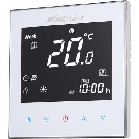 Numerique Thermostat Pour Plancher Chauffant electrique Chauffage Sol Et Capteur D'Air D'economie D'energie Ac 95-240V 16A ecran Tactile Lcd Chambre D'Affichage Regulateur De Temperature, Blanc, Type 1 Sans Wifi